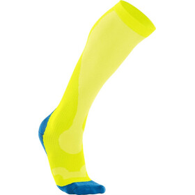 2XU M's Compression Performance Run Sock Fluro Yellow/Vibrant Blue
